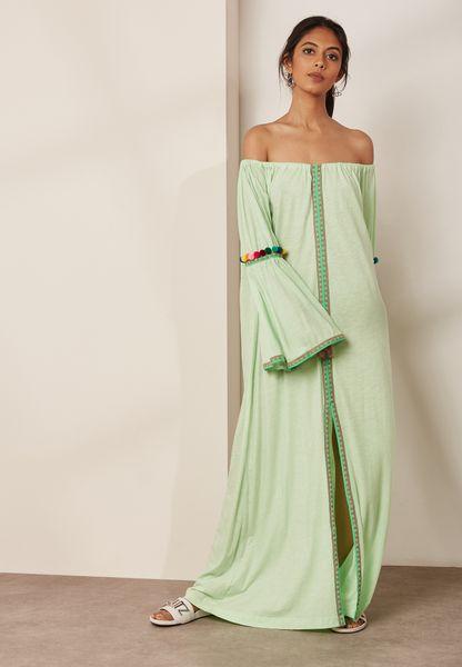 Pom Pom Flared Sleeve Bardot Maxi Dress