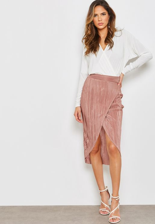 Crinkle Wrap Front Maxi Skirt