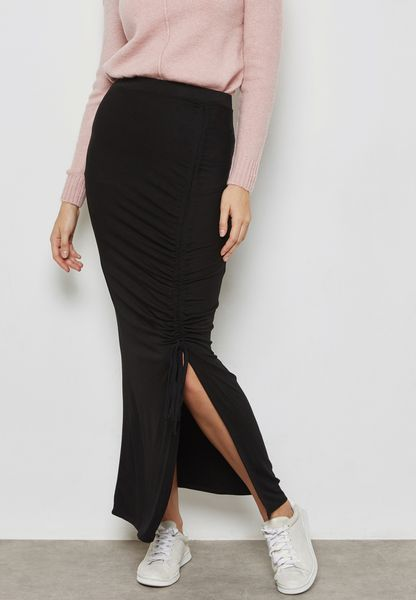 Side Split Ruched Maxi Skirt