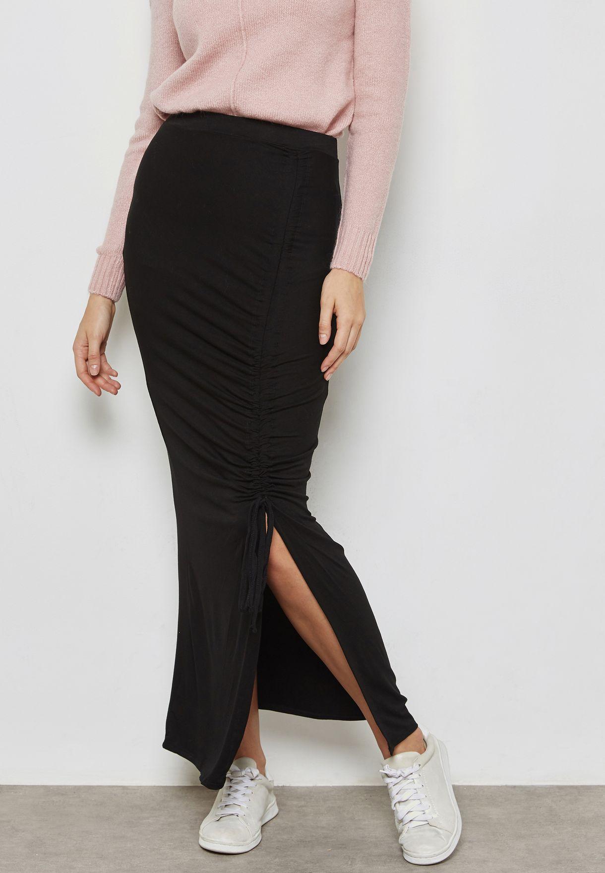 Side Split Ruched Maxi Skirt