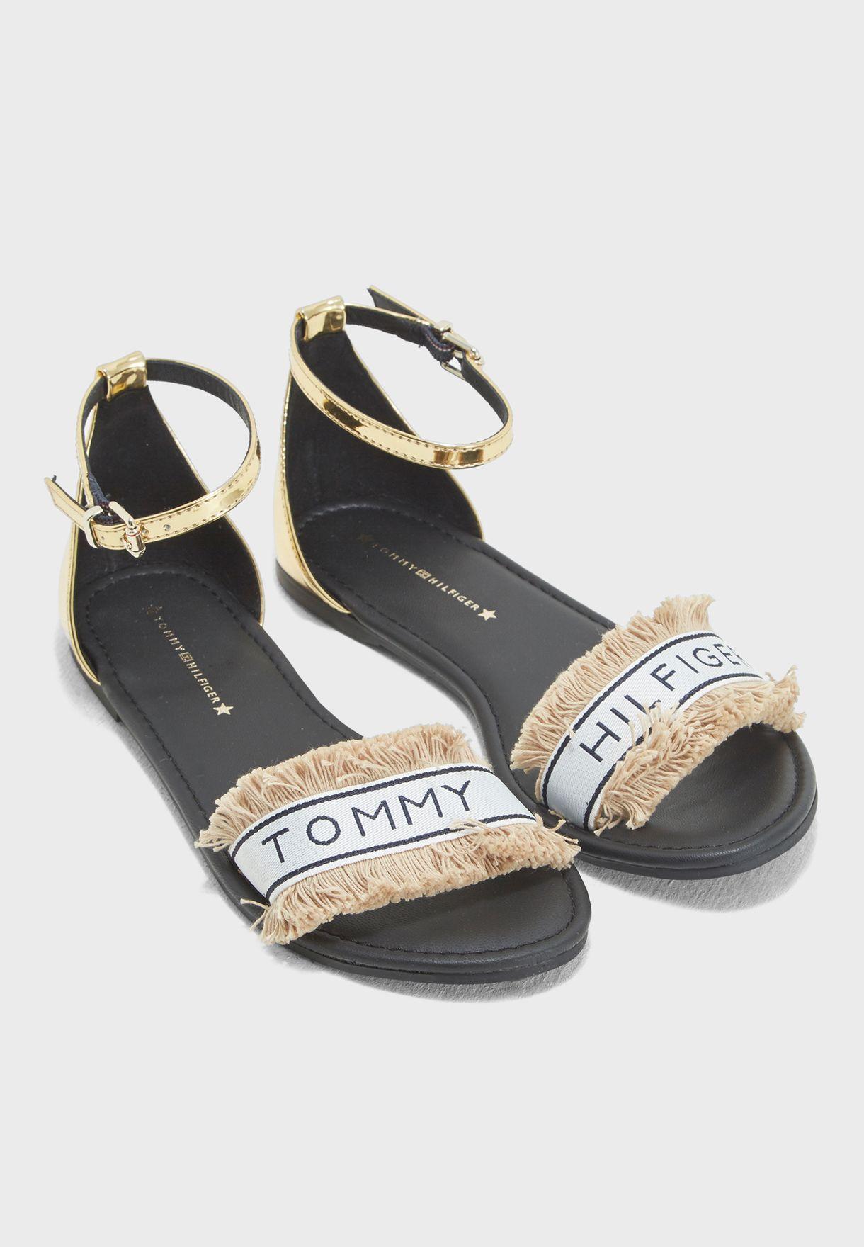 5bdf2f05956cb3 Shop Tommy Hilfiger multicolor Mirror Metallic Flat Sandal ...