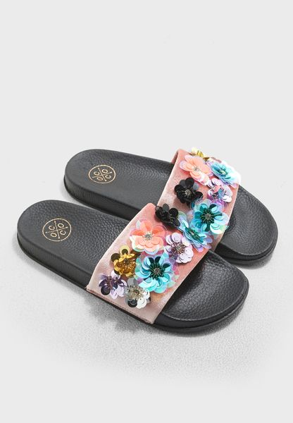 Kacee Flower Sequin Embellished Slide
