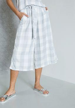 Gingham Tie Waist Culottes