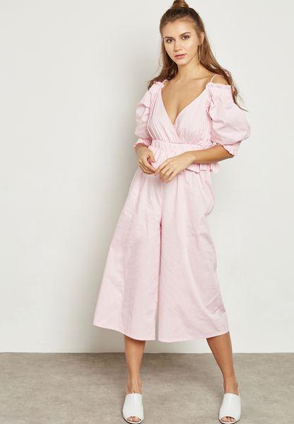 Ruffle Cold Shoulder Culotte Jumpsuit