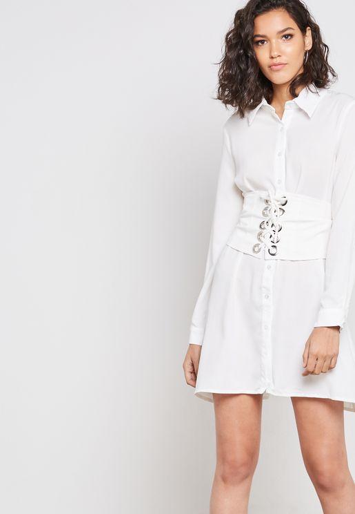 Eyelet Detail Shirt Dress