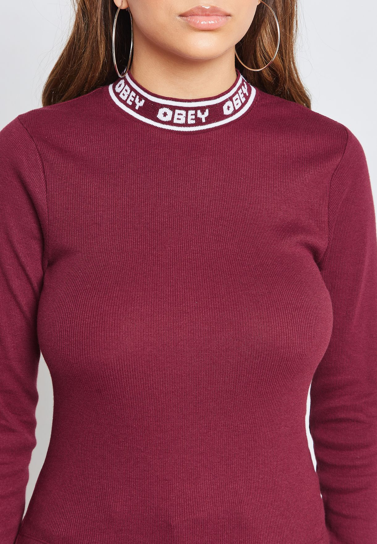Logo Trim High Neck Long Sleeve T-Shirt
