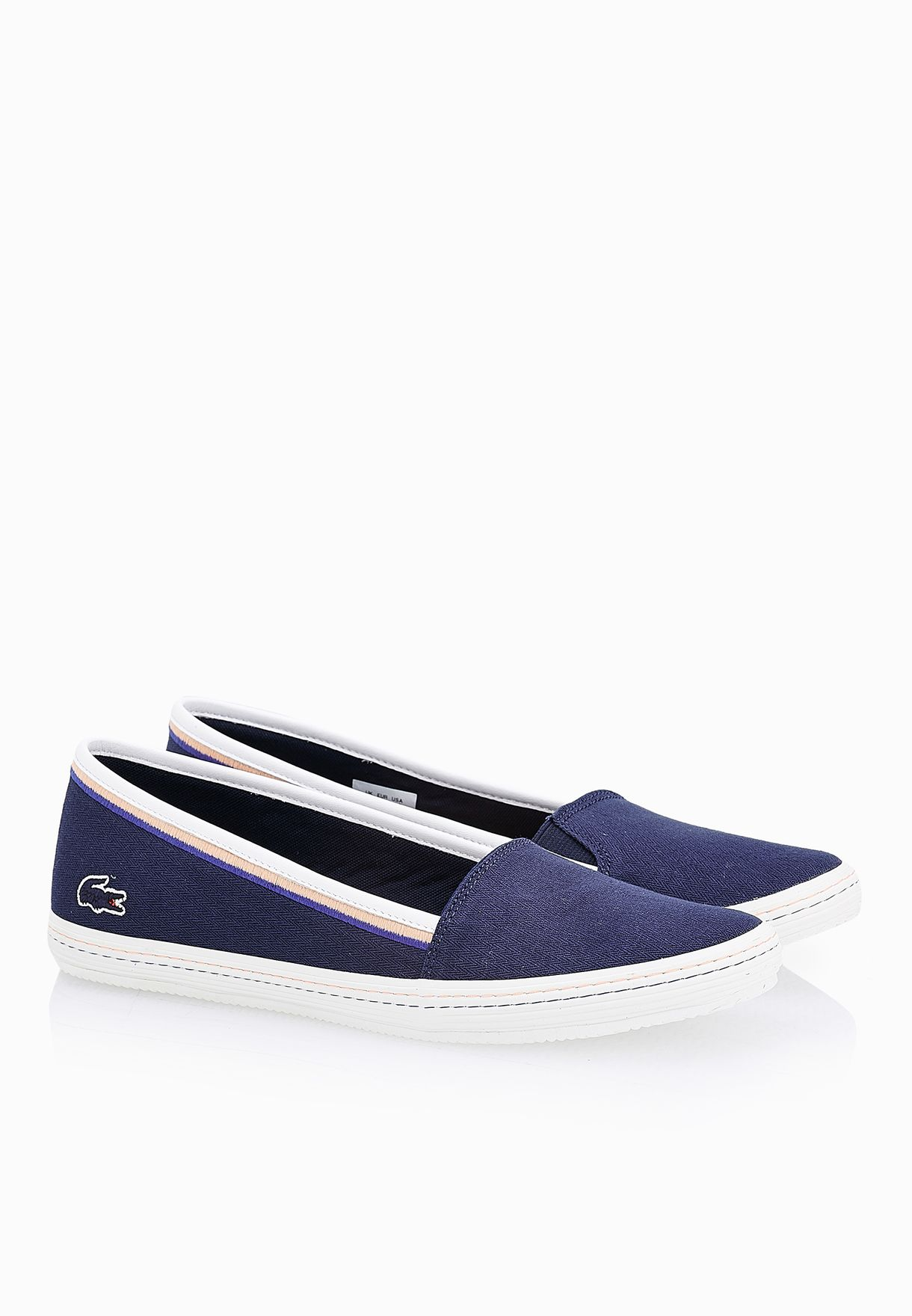 76330b419 Shop Lacoste navy Orane Slip Ons 31SPW0022-003 for Women in ...
