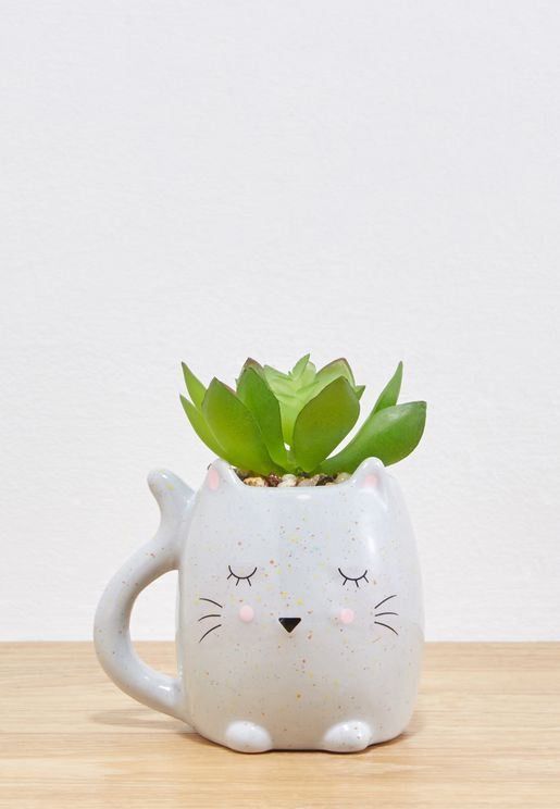 Sleepy Cat Planter With Plant
