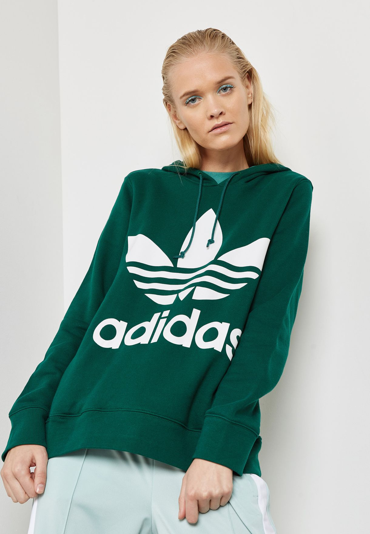 Shop adidas Originals green adicolor Trefoil Hoodie CE2412 for Women in  Saudi - AD478AT85YJM c7cb01ee0