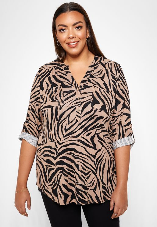 Zebra Print Button Down Top