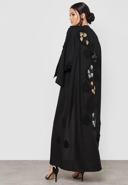 3D Flower Handwork Detail Abaya