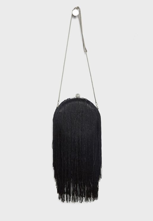 Flecos Satin Fringed Crossbody