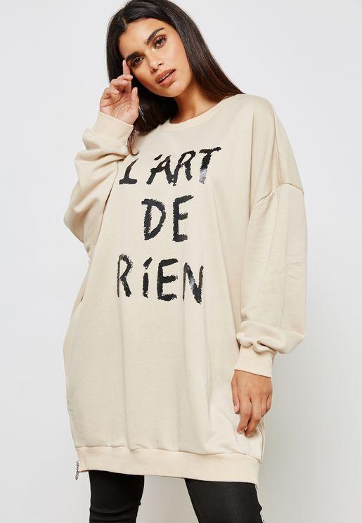 Oversized Slogan Sweatshirt