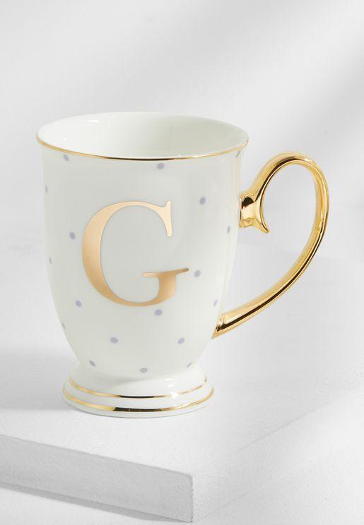 """طقم من صحن وفنجان شاى يحمل حرف """"G"""""""