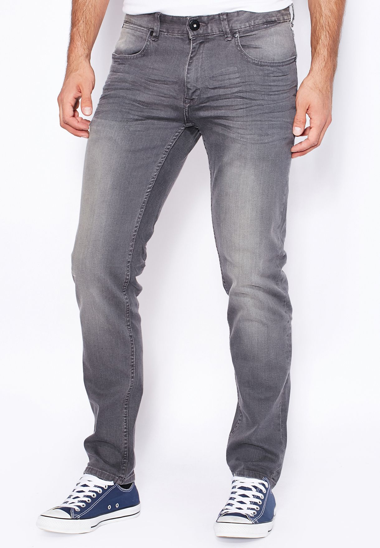 a967e447be Shop Cross Hatch grey Jaco Skinny Fit Mid Wash Jeans for Men in Oman ...