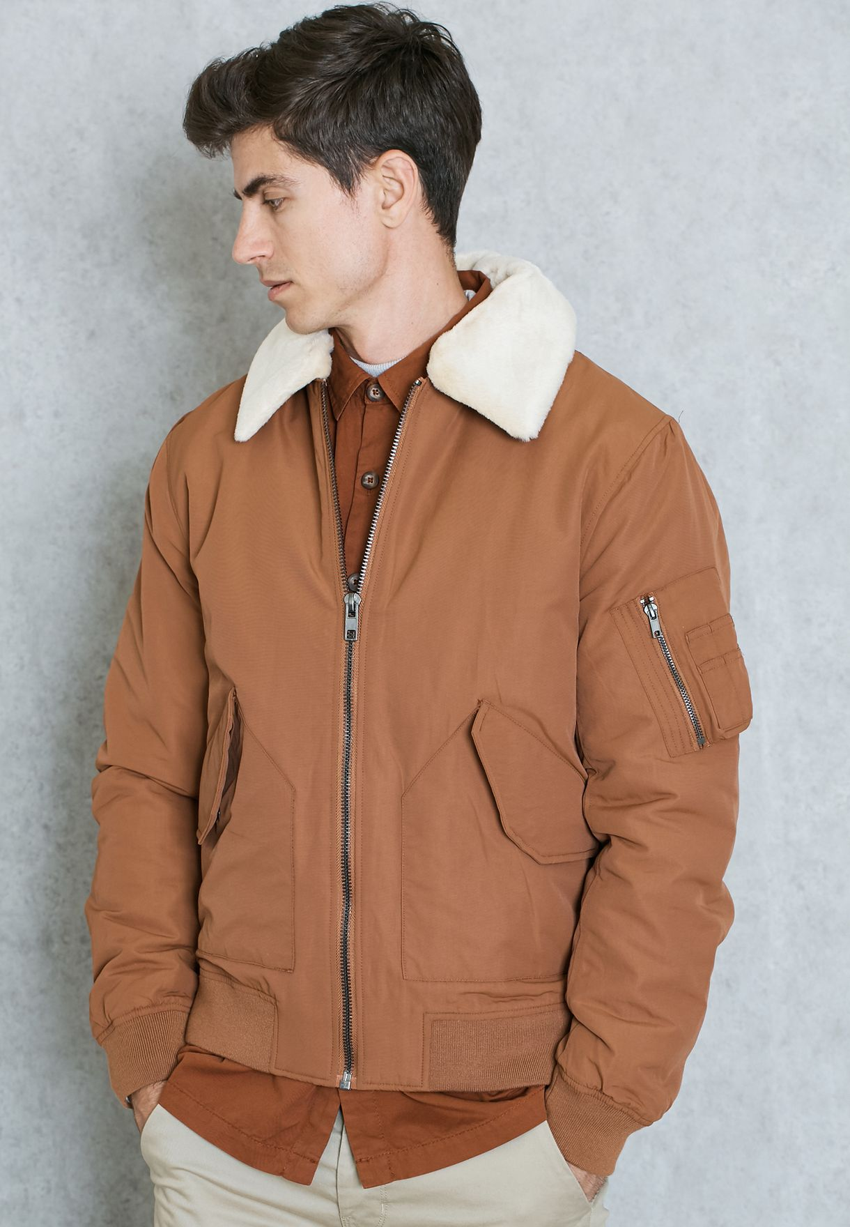Shop Topman Browns Padded Flight Jacket 64k36loge For Men In Uae