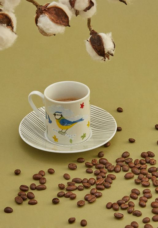 4 Pack Of Espresso Cups With Saucers Set