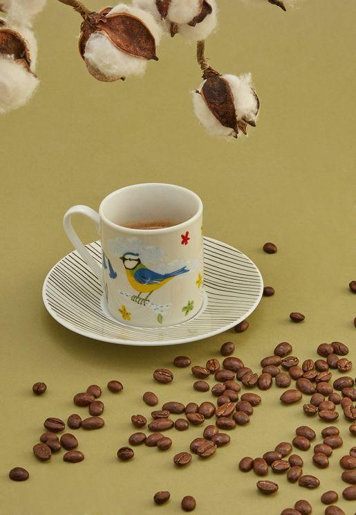 مجموعة 4 اكواب وصحون قهوة اسبرسو