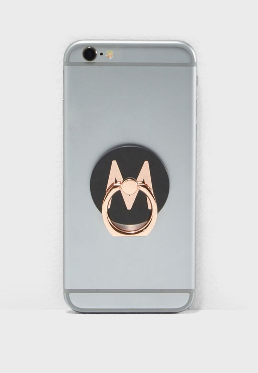 M Letter Rose Gold Phone Ring