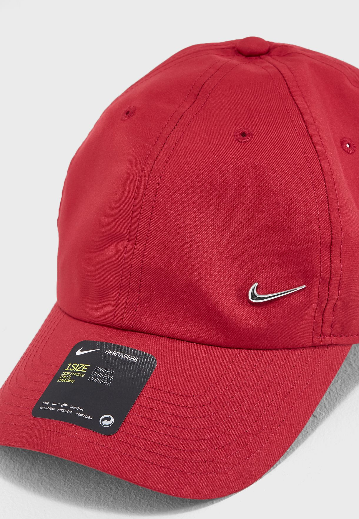 f365fa33aba Shop Nike red H86 Metal Swoosh Cap 943092-618 for Men in UAE ...