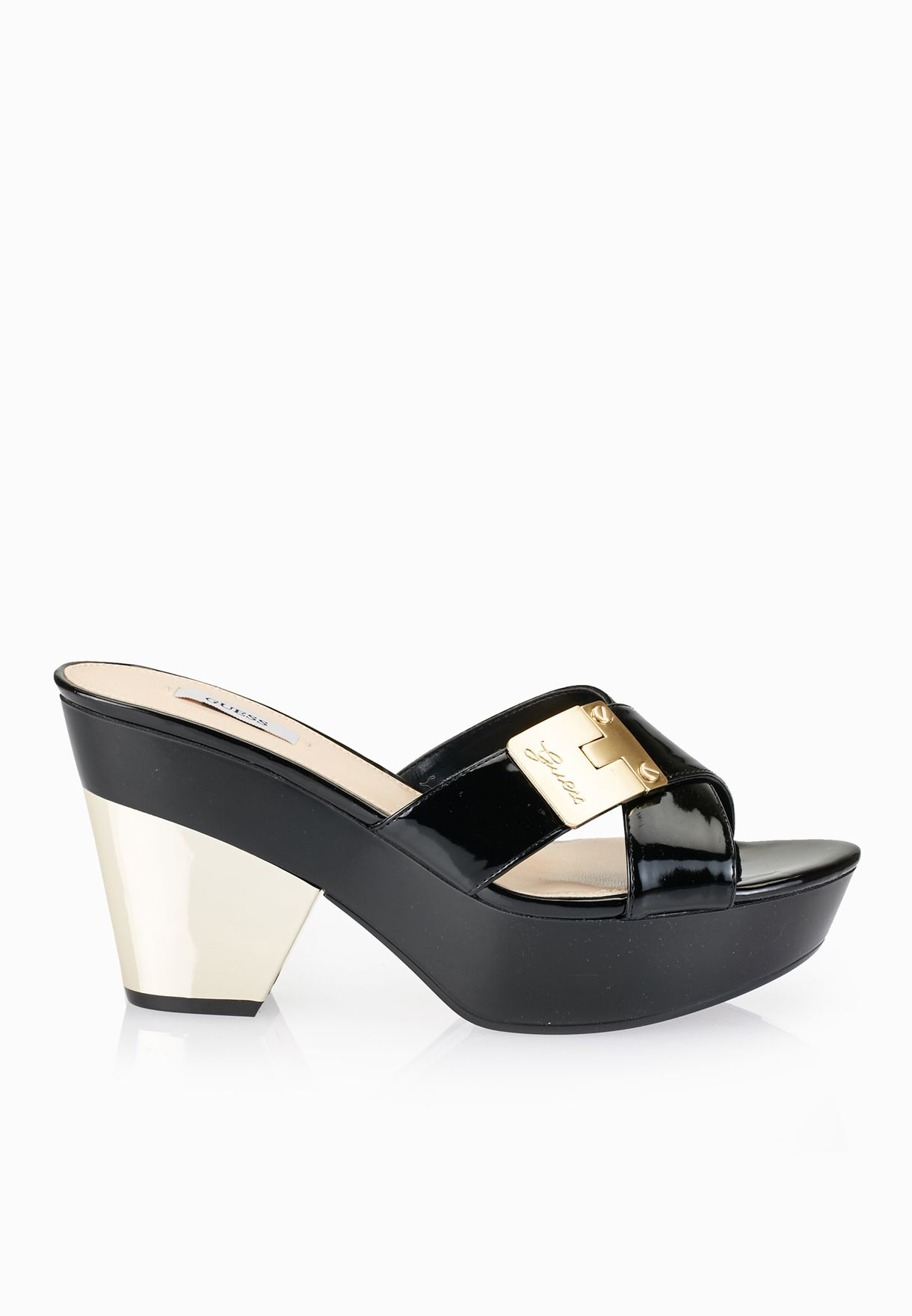 d5ab281413a Shop Guess black Cross Strap Platform Sandals gwCRESA2-B for Women in Saudi  - GU094SH85WFE
