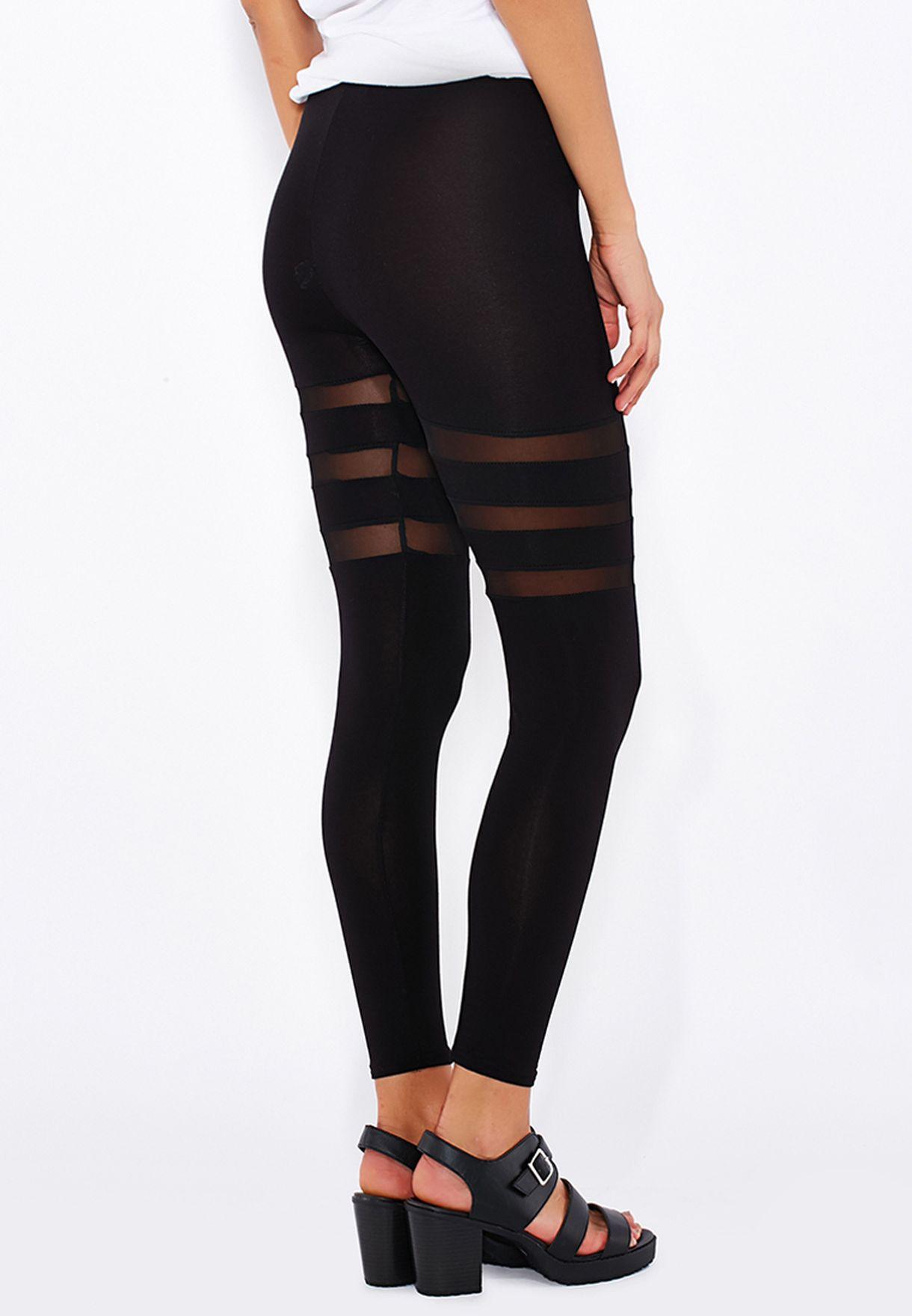 ced3b8c31053cf Shop Boohoo black Mesh Insert Wet Look Leggings AZZ10385 for Women ...