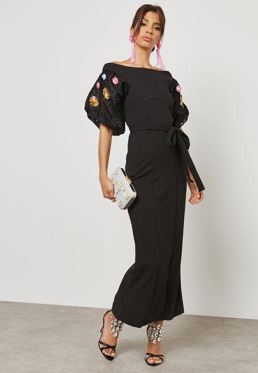 Floral Applique Self Tie Dress