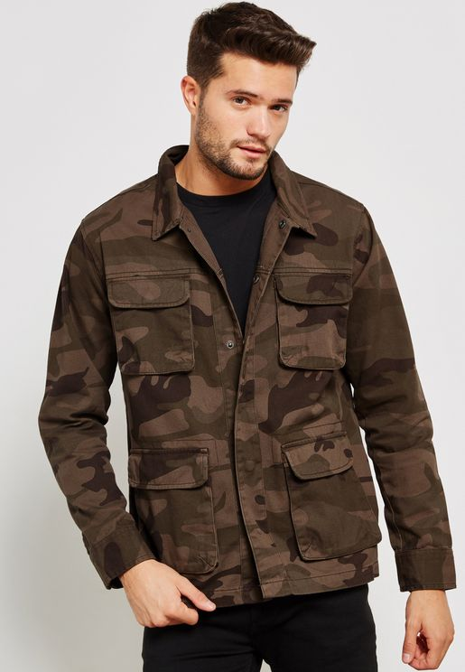 Camo Utility Jkt With Chest Pkts Detail