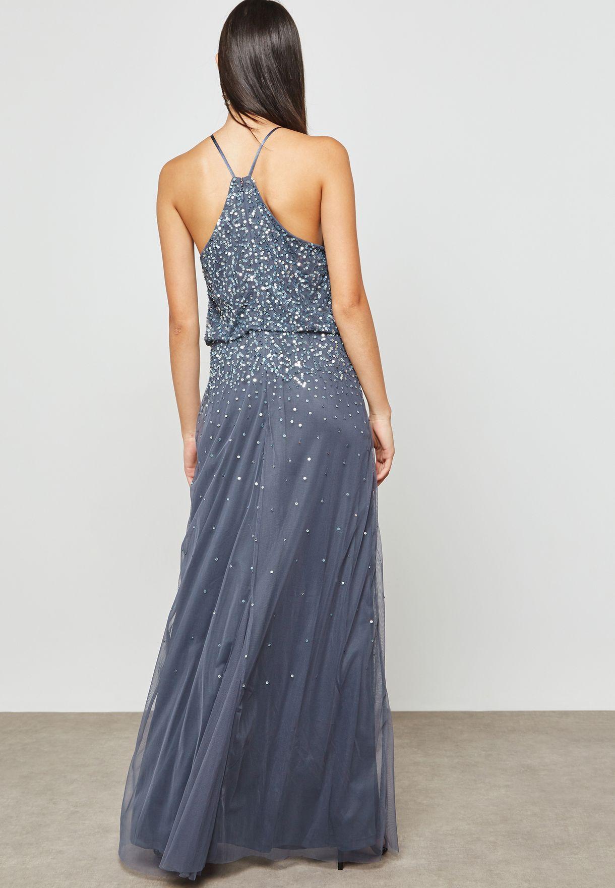 High Neck Sequin Detail Dress