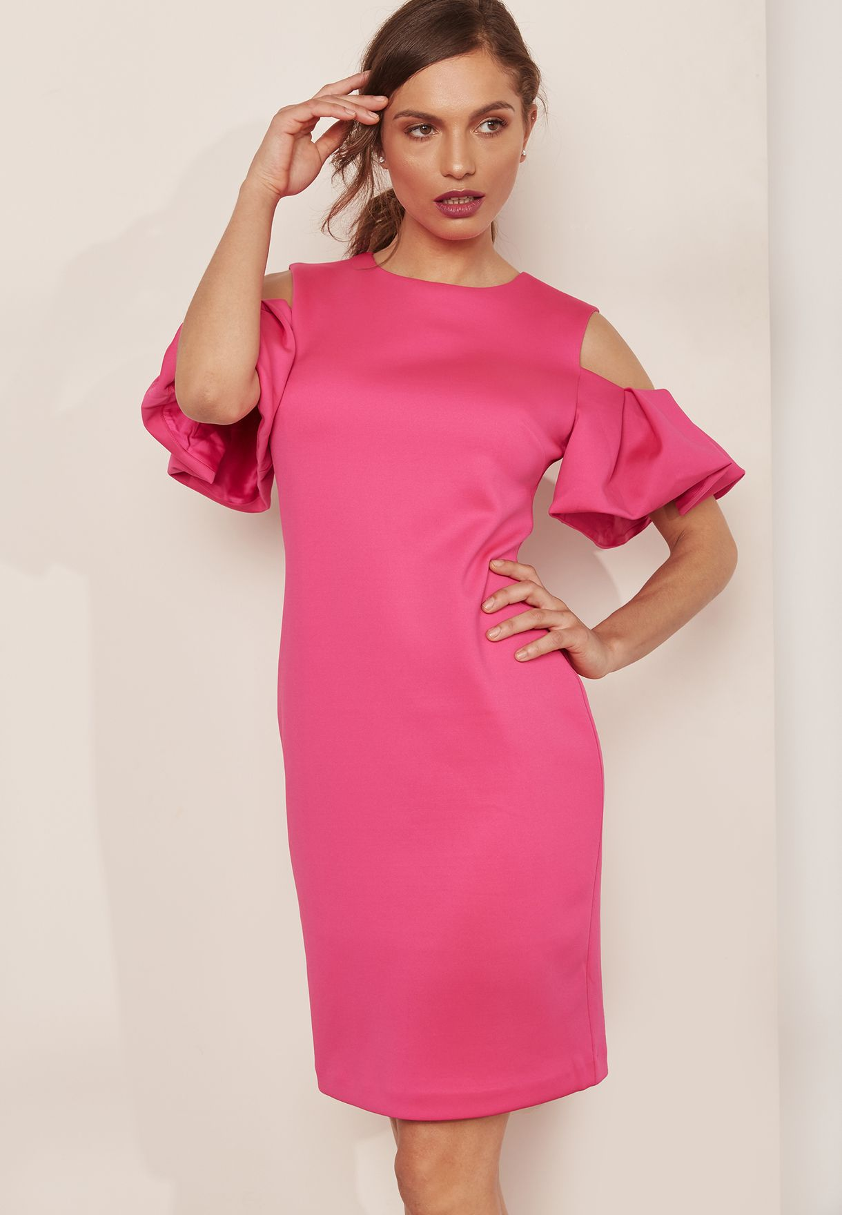 2a14a5a67ffb4 Shop Ted baker pink Flute Sleeve Cold Shoulder Dress WMD-SALNIE-WH8W ...