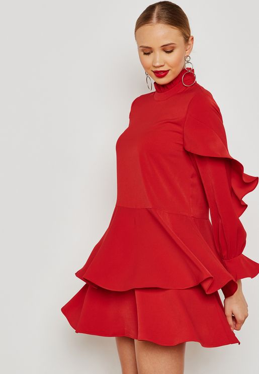 Layered High Neck Dress