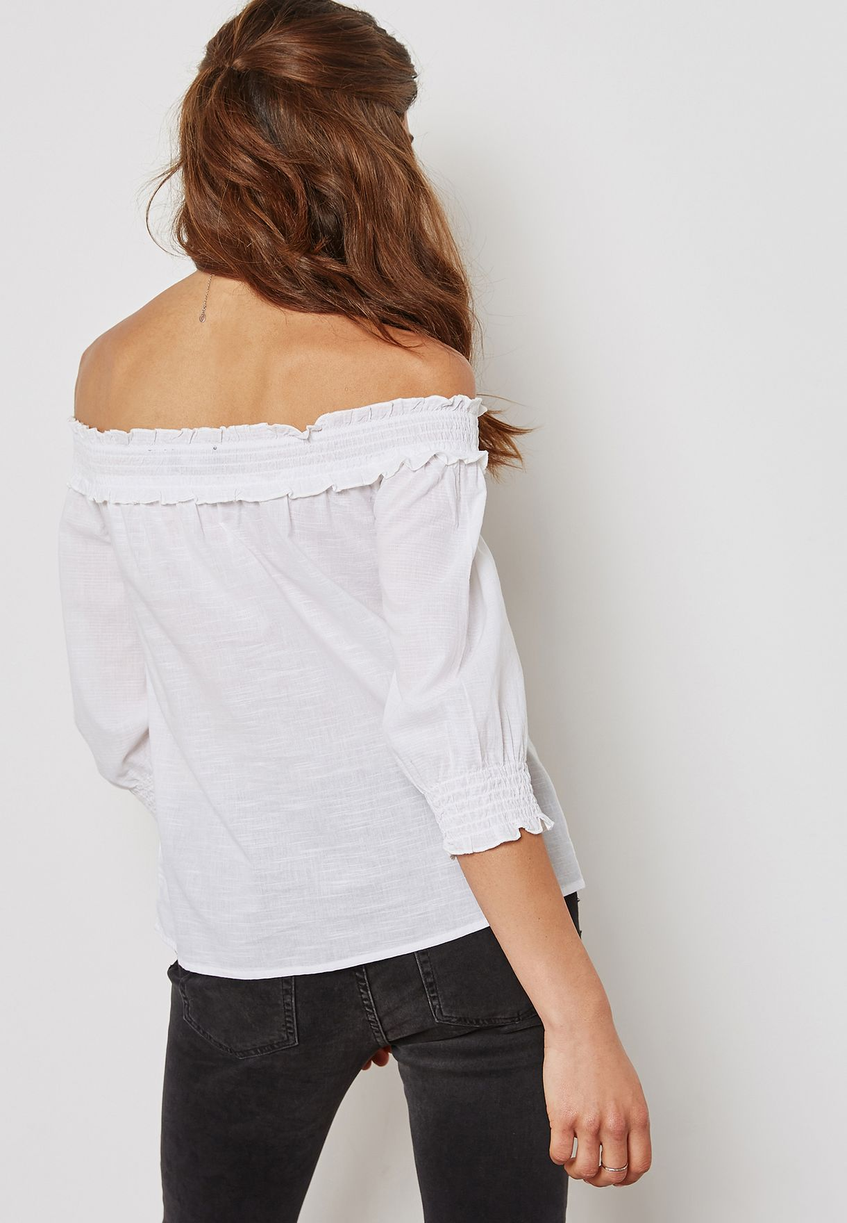 Shirred Ruffled Bardot Top
