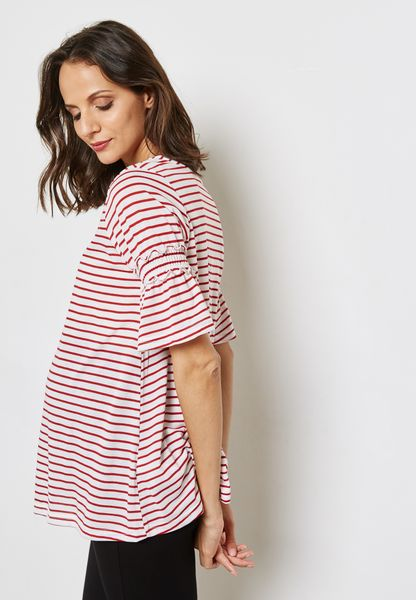 Flute Sleeve Striped Top