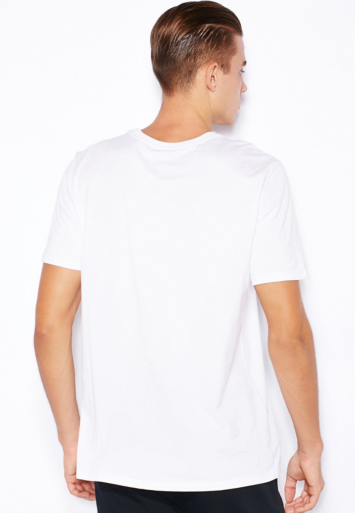 73834195 Shop Nike white Embroidery Swoosh T-Shirt 707350-100 for Men in ...