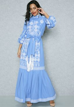 Embroidered Puffed Sleeve Self Tie Dress