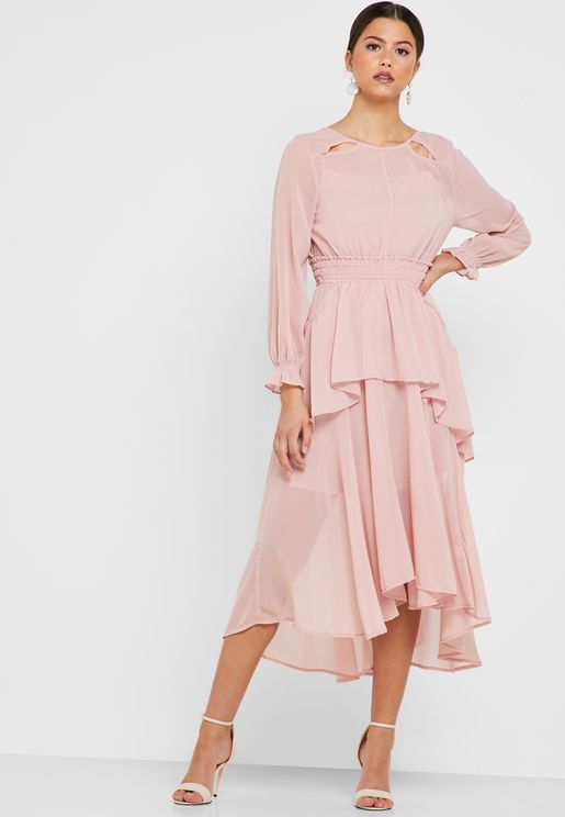 Ruffle Detail Shirred Waist Dress