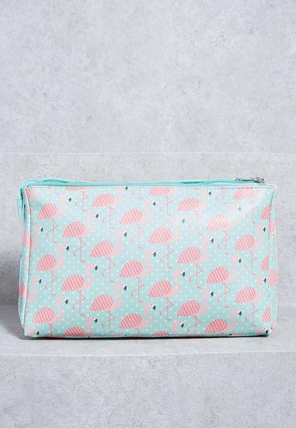 Tropical Flamingo Cosmetic Bag