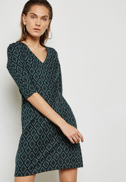 Jacquard Print Shift Dress