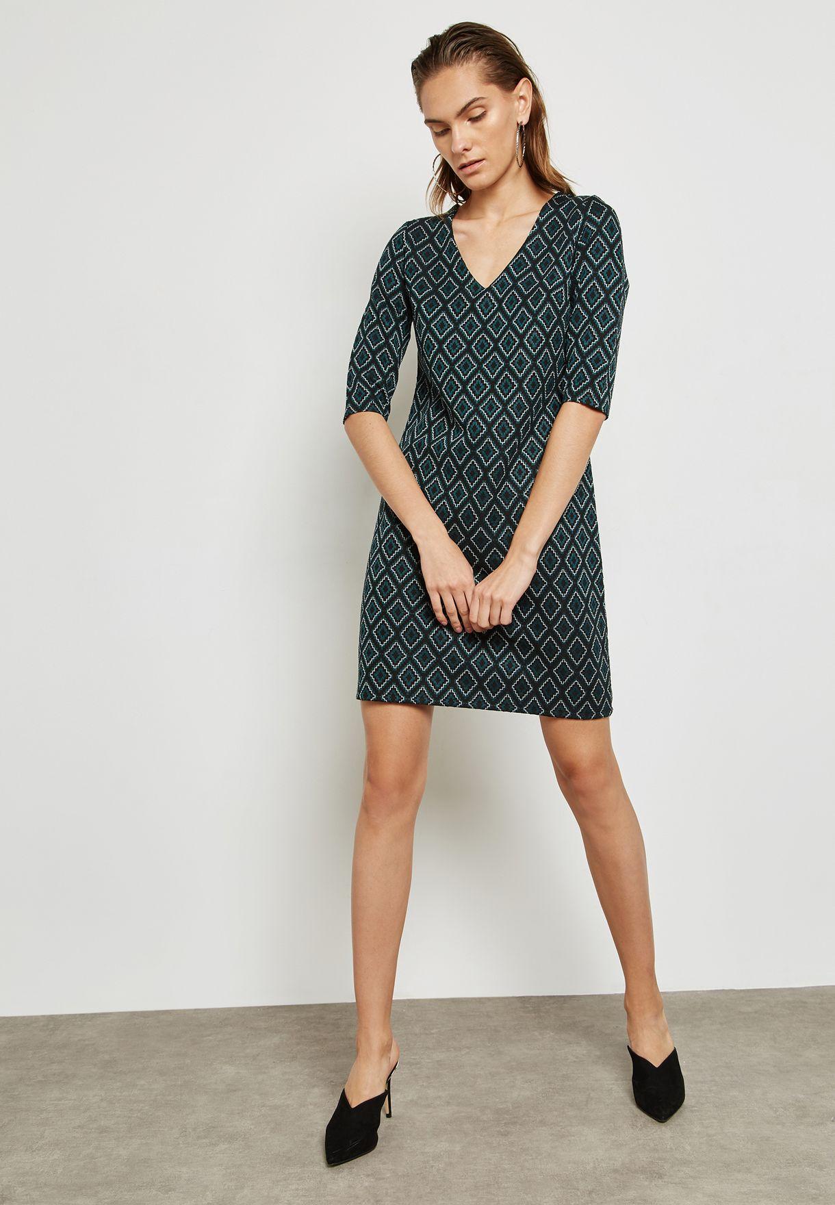 Jacquard Print Shift Dress
