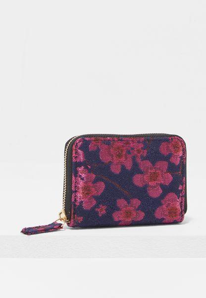 Floral Jacquard Zip Around Cardholder