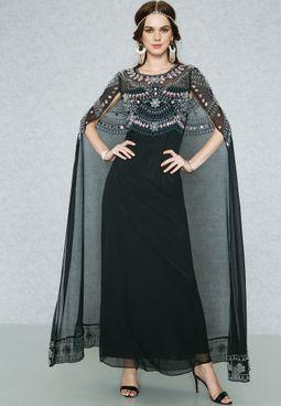 Embellished Cape Maxi Dress