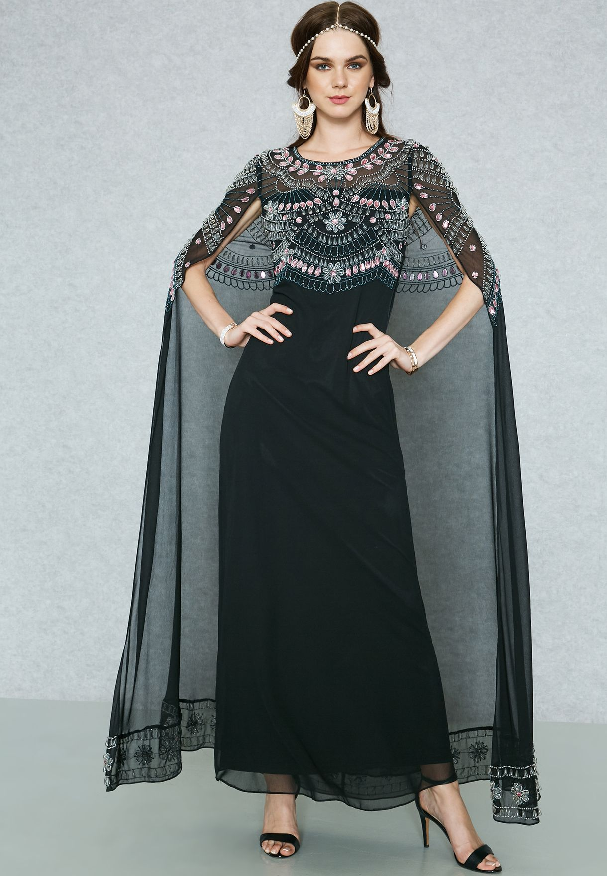 Shop Frock And Frill Black Embellished Cape Maxi Dress Fflw97