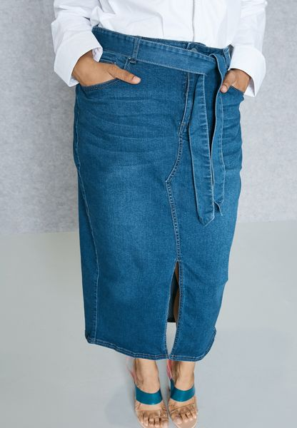 Tie Waist Denim Pencil Skirt