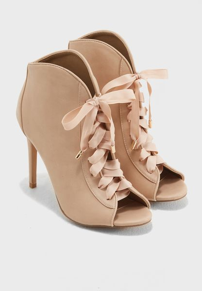 Lace Up Peep Toe Boot