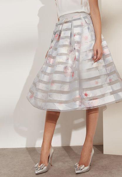 Mesh Detail Printed Skirt