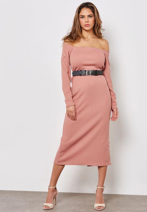 Long Sleeve Bardot Ribbed Belted Midi Dress