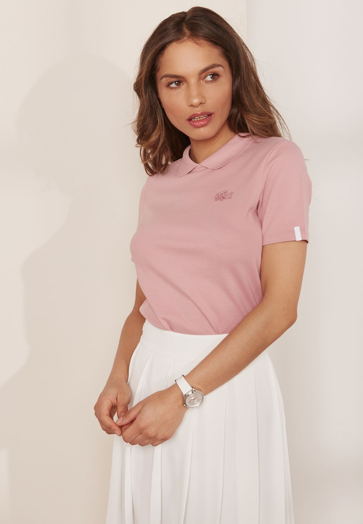 57c134d86db Shop Lacoste pink Logo Detail Polo PF2627-00-SDA for Women in UAE ...