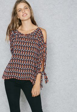 Printed Tie Cuffed Cold Shoulder Top