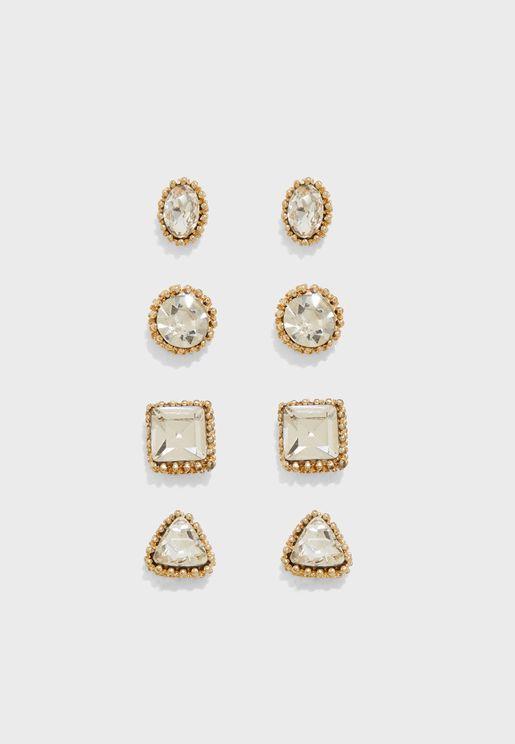 Faux Gem Rhinestone Stud Earrings Set