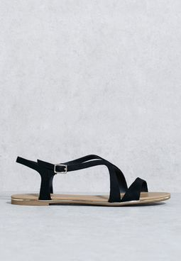 Ladies Basic Criss Cross Flat Sandal
